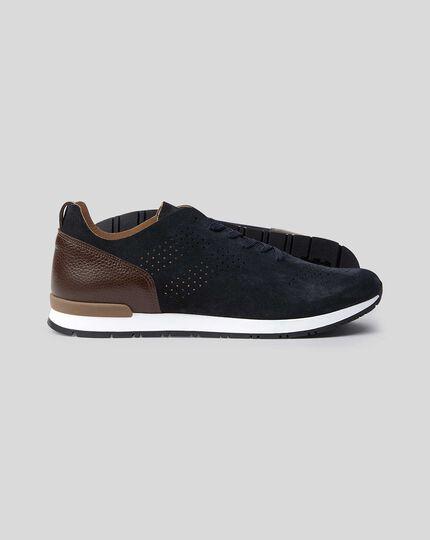 Suede Sneakers - Navy & Brown
