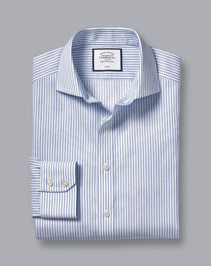 Spread Collar Non-Iron Cotton Stretch Stripe Shirt - Blue