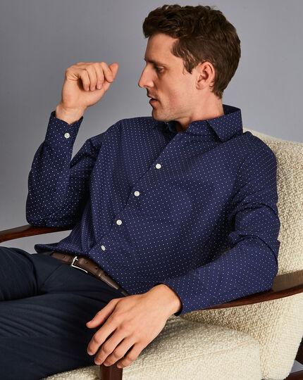 Semi-Cutaway Collar Non-Iron Spot Printed Shirt - Navy