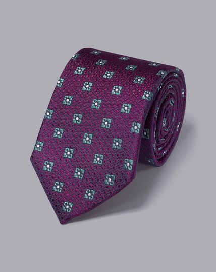 Silk Textured Diamond Motif Tie - Berry & Sky