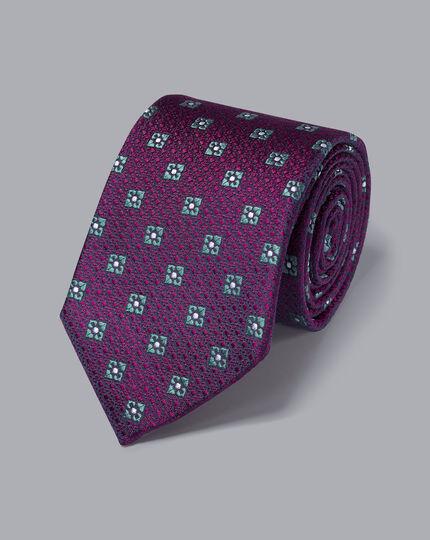 Strukturierte Krawatte aus Seide mit Diamantmuster - Beerenrot & Himmelblau