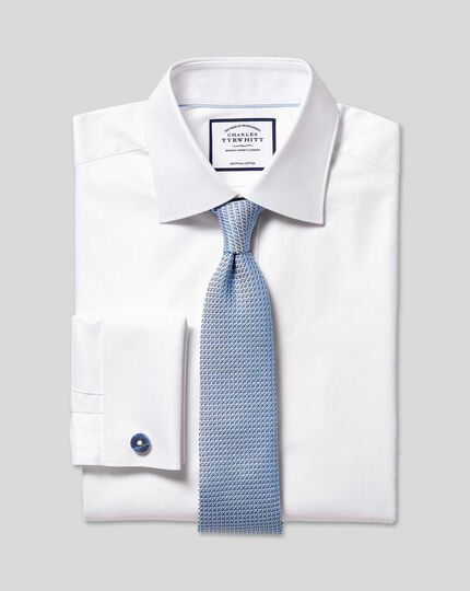Semi-Cutaway Collar Egyptian Cotton Herringbone Shirt - White