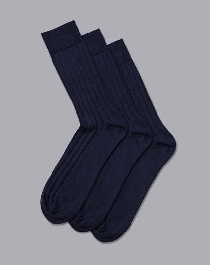 Wool Rich 3 Pack Socks - Denim Blue