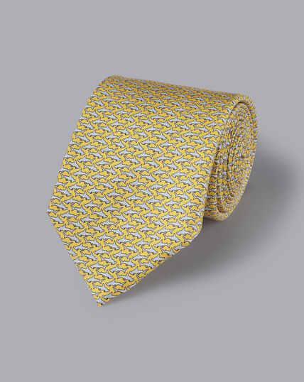Krawatte mit Hammerhai-Motiv - Zitronengelb & Silber