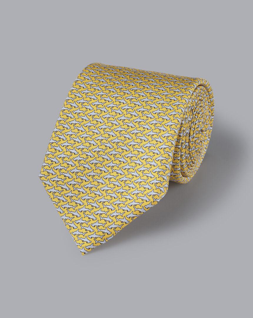 Hammerhead Shark Print Tie - Lemon & Silver