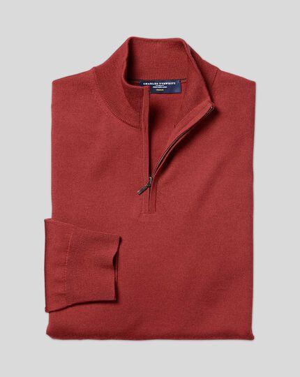 Merino Zip Neck Sweater - Brick Red