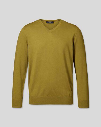 Merino V-Neck Sweater - Chartreuse
