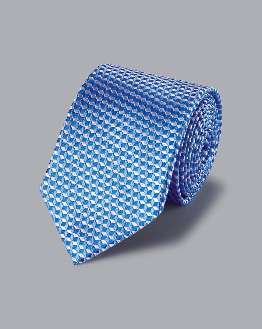 Geometric Cube Tie - Sky