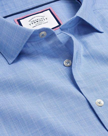 Business Casual Collar Cotton Slub Shirt - Blue