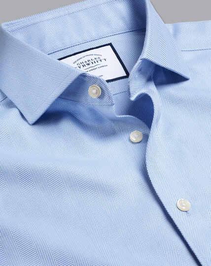 Spread Collar Non-Iron Herringbone Shirt - Sky Blue