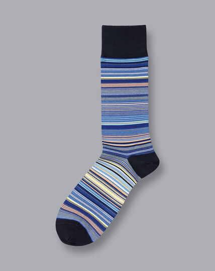 Jacquard Multi Stripe Socks - Cobalt Blue