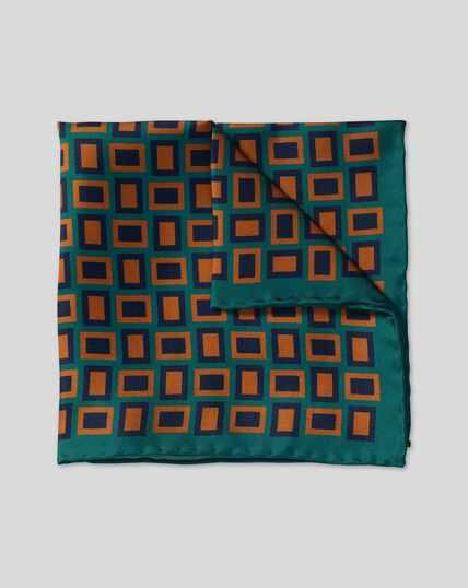Retro Rectangle Print Pocket Square - Teal & Brown