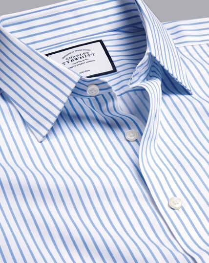 Bügelfreies Twill-Hemd mit Streifen - Kornblumenblau