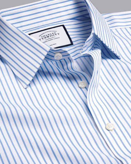 Non-Iron Twill Stripe Shirt - Cornflower Blue