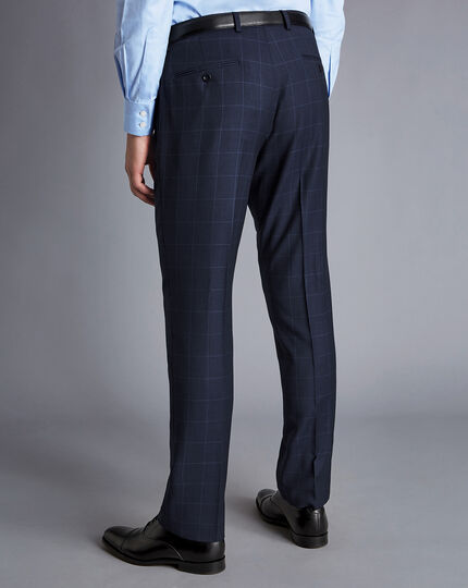 Windowpane Check Birdseye Travel Suit Pants - Ink Blue
