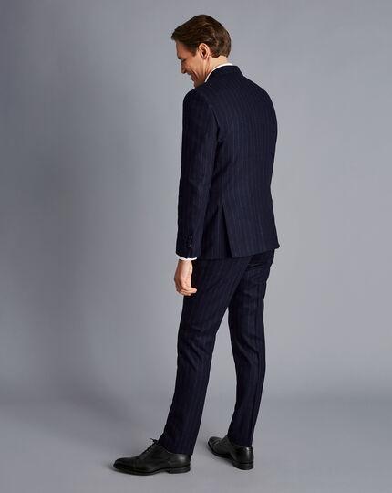 British Luxury Stripe Suit Jacket - Dark Navy