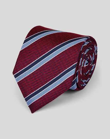 Silk Textured Club Stripe Classic Tie - Red & Blue