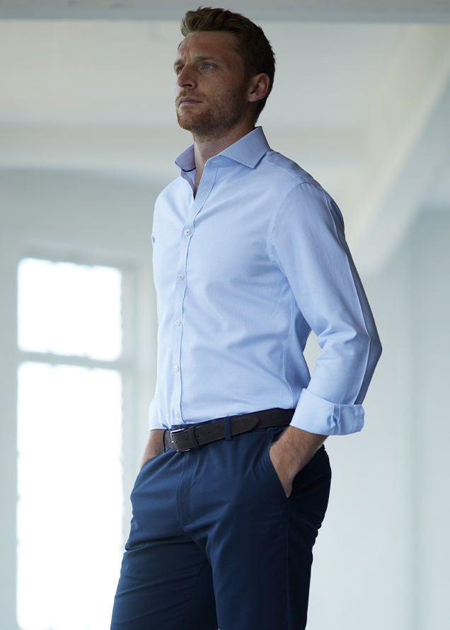 Cutaway Collar Non-Iron Regent Weave Shirt - Sky