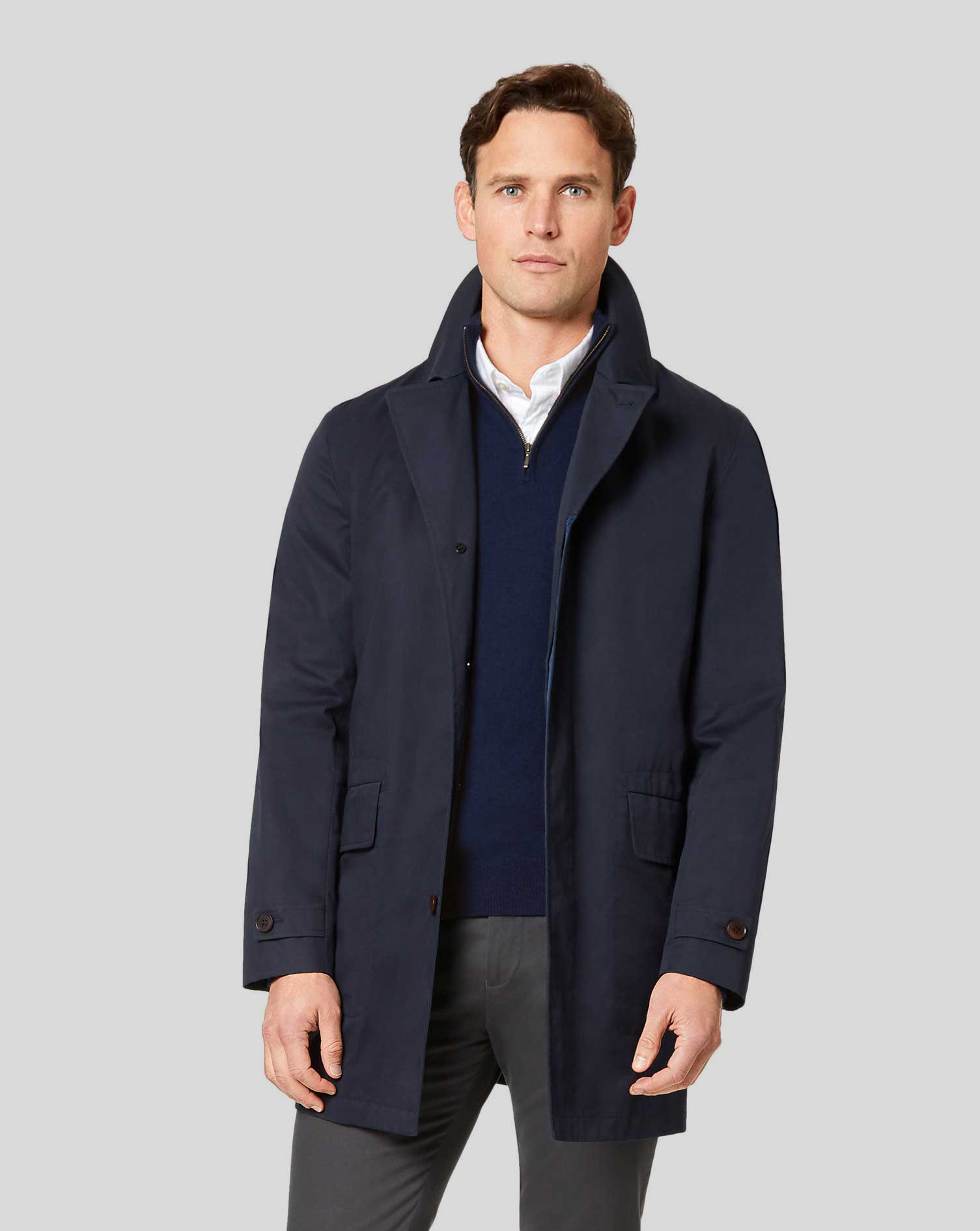 Italian RainCotton coat - Navy Size 42