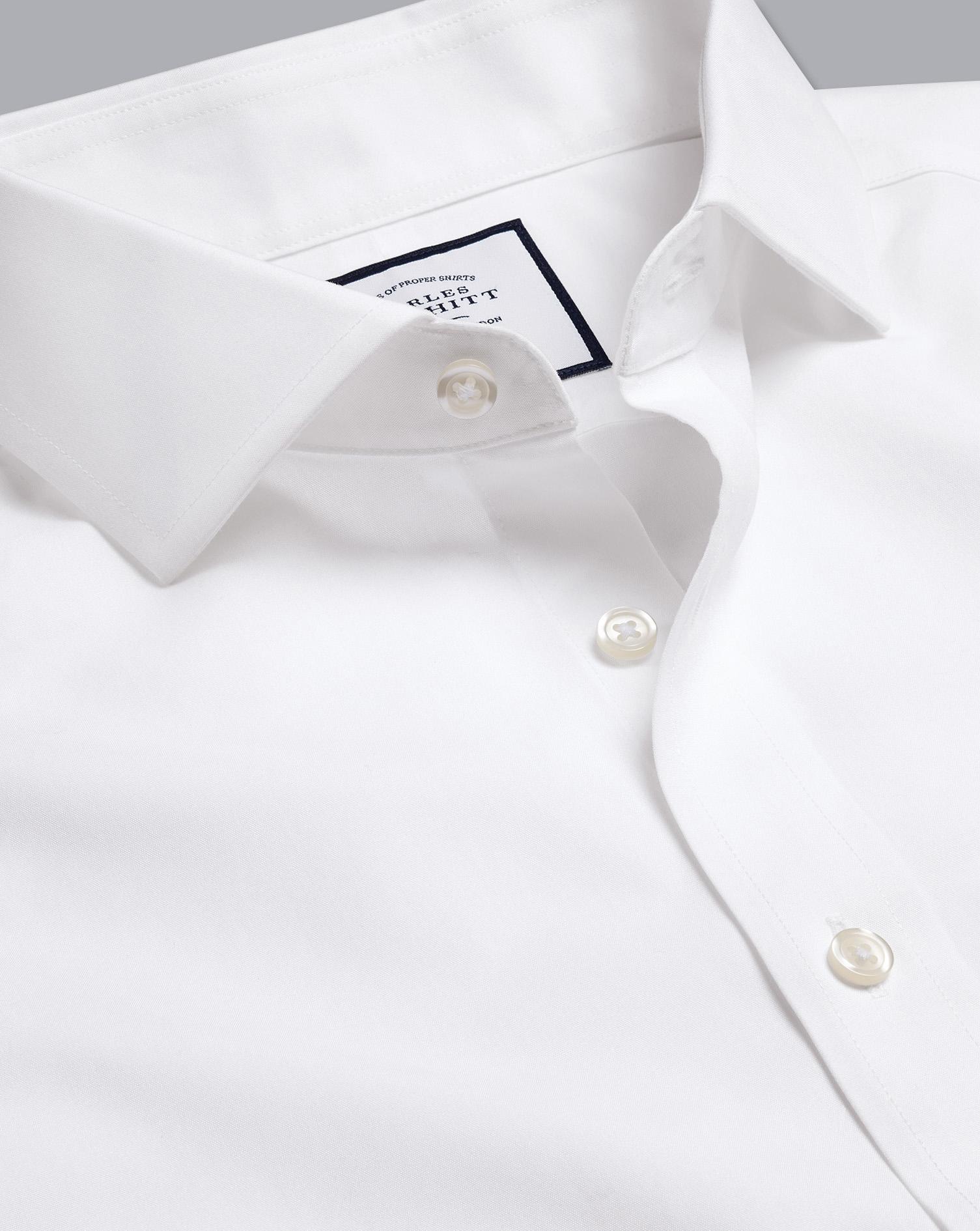 Spread Collar Non Iron Poplin Shirt   White