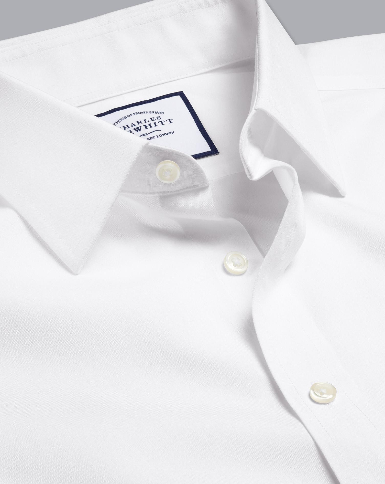 Non Iron Poplin Shirt   White